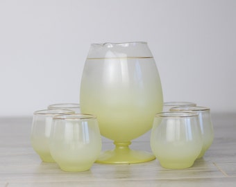 Retro Yellow Mid Century Blendo Frosted Snifter Cocktail 7 piece Set