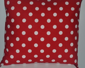 """Red and White Polka Dot Pillow - 18"""" x 18"""""""