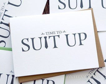 Time to Suit Up - Will You Be My Groomsman Card, Best Man, Usher, Ring Bearer- Wedding Cards for Groom to Ask Groomsmen, Guys (Set of 4)
