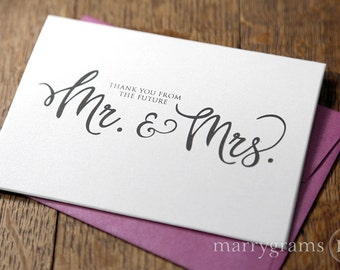 Scripted Bridal or Couple's Shower Cards - Thank You From the Future Mr. & Mrs. - Fancy Gold, Silver, Pink, Purple, Lagoon, Navy (10ct)
