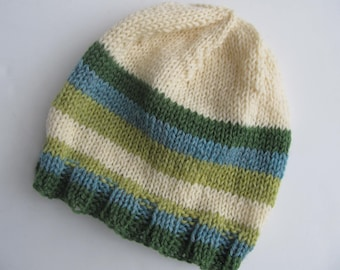Handknit Wool Hat for Older Child, Teen, or Adult. Ready to Ship, One Of a Kind