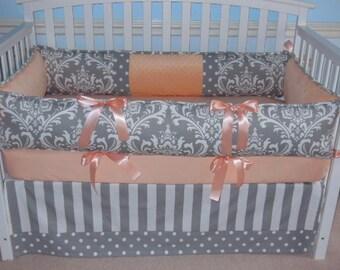 Custom  Crib Bedding  3 PC Gray  Damask Peach