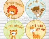 Baby's Firsts Milestone Stickers Monthly Sticker Gender Neutral Boy Girl Lion Giraffe Tiger Raccoon (Zoo Animal Milestone)