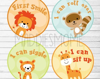 Baby's Firsts Milestone Stickers Monthly Sticker Gender Neutral Boy Girl Lion Giraffe Tiger Raccoon (Zoo Animal Milestone)