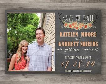 Rustic Antler Wedding Save The Date, Barn Wedding, Printable Wedding Save The Date