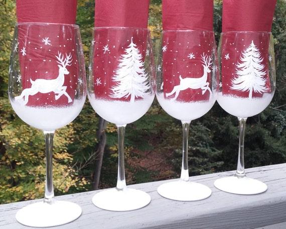 Reindeer wine glasses page two christmas wikii for Christmas painted wine glasses pinterest