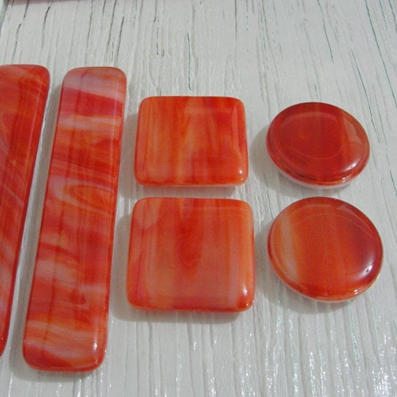Fused glass knob cabinet knobs pulls home decor red white - Red kitchen cabinet knobs ...