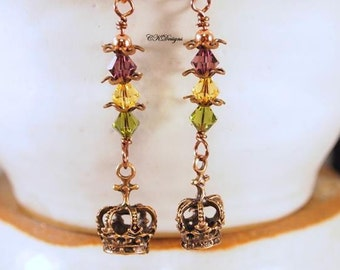Mardi Gras Earrings, Copper Crowns Earrings, Swarovski Crystals,  Beaded Pierced Earrings. OOAK Handmade earrings. CKDesigns.US