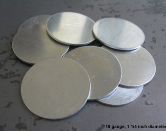 16G Aluminum Disc, 1 1/4 Inch Diameter, Soft Strike Aluminum Stamping Blanks, You get 4, Ready to Ship!
