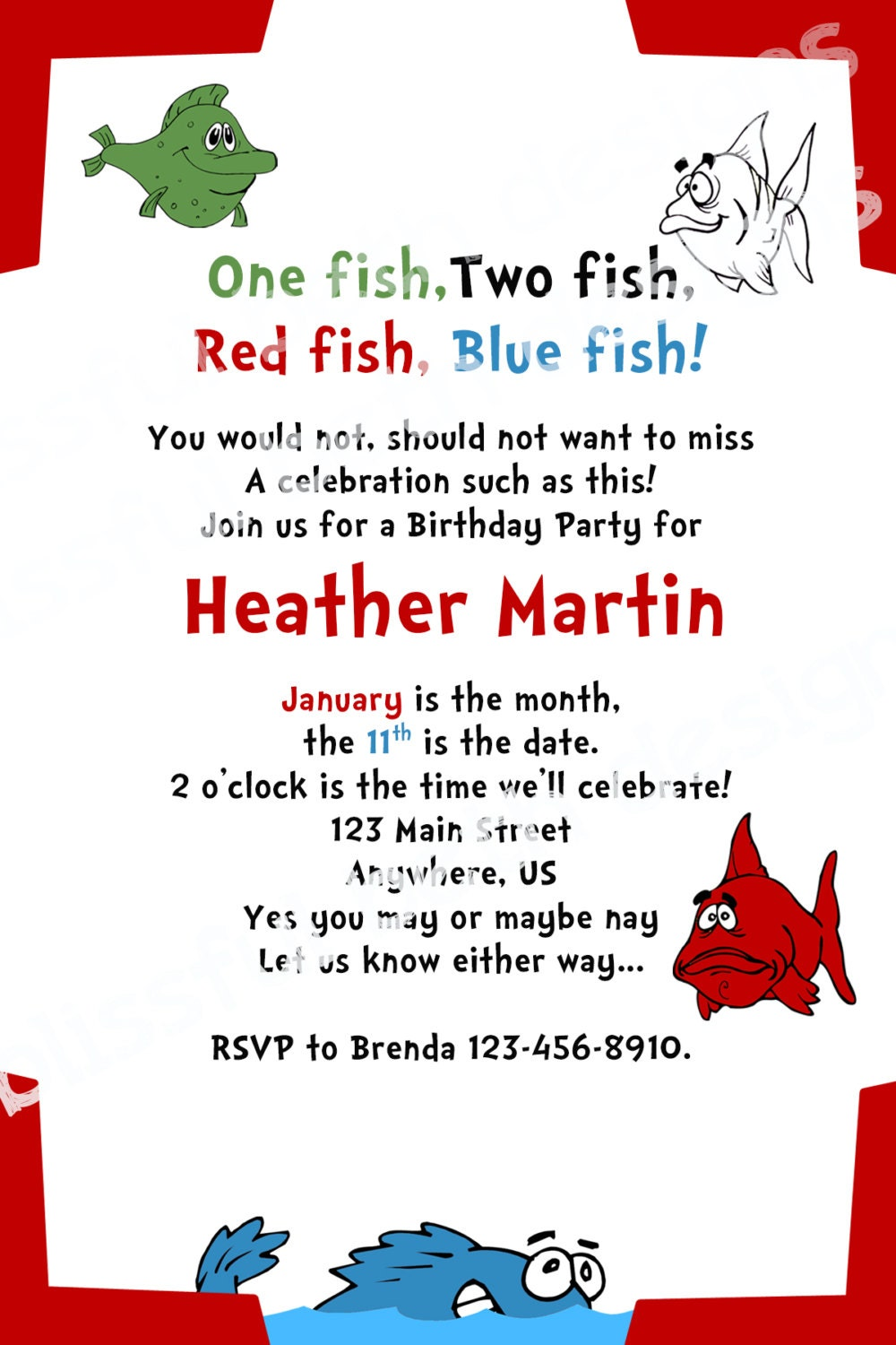 ONE FISH BIRTHDAY Personalized Dr. Seuss Birthday Invitation, One ...