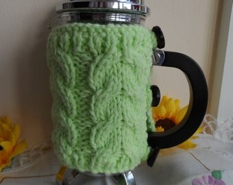 Hand knitted pale green cafetiere cover coffee pot press cosy