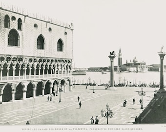 Vintage Print Venice Palazzo Ducale, Gothic Architecture,  Doge Palace, Photo by P. Jousett, Italy,  Black and White