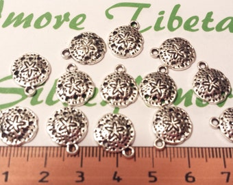 12 pcs per pack 12mm Small Sand Dollar Charm Antique Silver Finish Lead Free Pewter