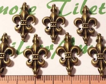 8 pcs per pack 28x14mm Fleur De Lis Link Antique Bronze Finish Lead Free Pewter
