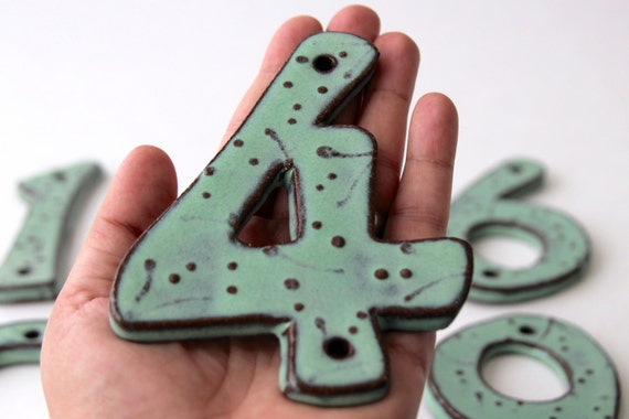 house numbers modern 4 inch 5 inch or 6 inch size pottery letters or