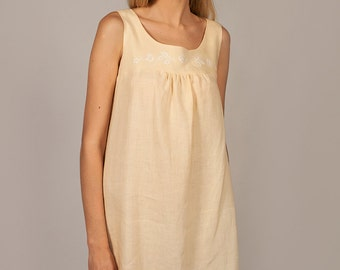 Pure Linen Sundress with Handembroiderey on Front Yoke