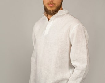 Pure Linen Casual Longsleeve Shirt for Men