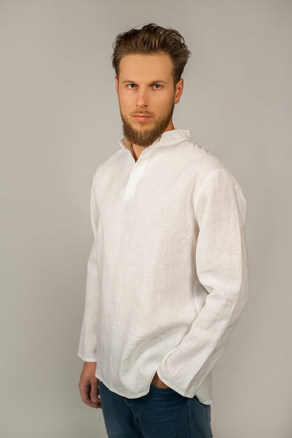 leinen shirt herren man linen mid heather white fair ko ops thokkthokk st men moss copenhagen. Black Bedroom Furniture Sets. Home Design Ideas