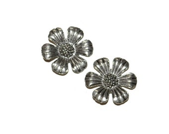 Silver Flower Pendants Set of Two Antique Silver Flower Charms  Craft Supplies Jewelry Supplies