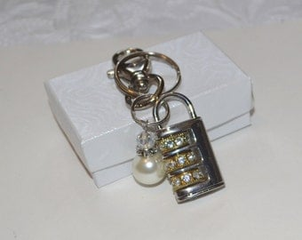 Rhinestone Lock and Pearl Key Ring with Lobster Clasp Gifts for Her Unique Gifts For Her Under 15