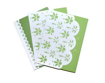 Spring Green Eyelet  Soft Cover Blank Journals Set of Three  5 x 7 Blank Journals