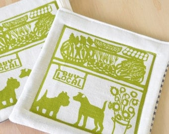 Pot Holders,  One Pair:  Growers Market, Green