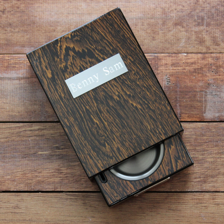 Cigar Cutter And Ashtray Drawer Set Polished Iron Wood
