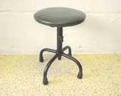 Industrial Metal Stool Swivel Adjustable - Original Green Vegan Leather Vinyl