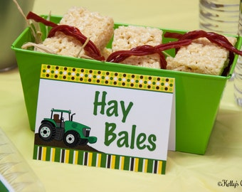 Tractor Birthday Party Labels, Instant Download, Printable, Food Tags, Place Cards, Party Signs