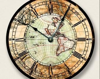 ANTIQUE MAP wall CLOCK - Western Hemisphere - colorful vintage print - old world look - 7013