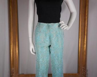 Vintage 1960's Light Blue & Gold Brocade Cigarette Pants - Size 14