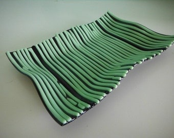 Green and Black Fused Glass Wave Platter