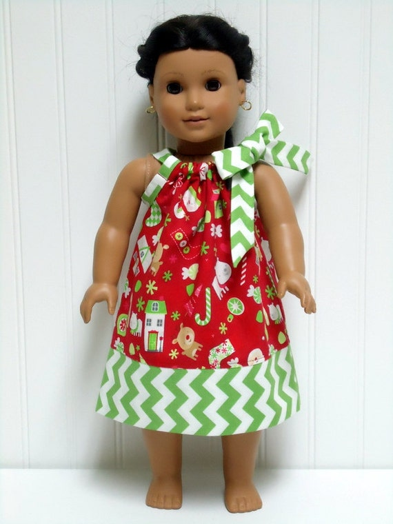 18 inch doll clothes christmas pillowcase red santa snowman dress