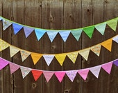 Bunting Fabric Bunting Fabric Banner Birthday Party Bunting Baby Shower Children's Room Art Hanging Wall Art Party Event Party Decoration