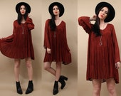 70s 90s Vtg GAUZE Delicate BABYDOLL Rust Red Mini Dress / FLOWY Festival Boho India Embroidered Wide Sleeve Tented / Sm - Med