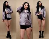 90s Vtg Metallic LAVENDER Pastel Genuine LEATHER Blazer Jacket / Minimal Button Up Club Kid Grunge / Xs - Sm