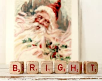 Vintage Letter Cubes BRIGHT Christmas