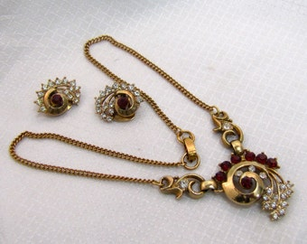 1940's Costume Fashion Necklace and Matching Earrings, Original Boxed