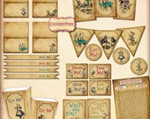 Wonderland Decoration Party Pack, 9 sepia party printables, matching party pack, great DIY party supplies