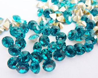 24 rhinestones resin, Ø5mm SS23, teal, round