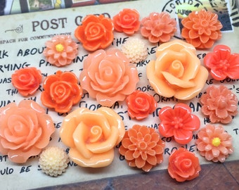 20pcs - Resin Flower Cabochons - Orange