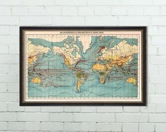 Planisphere in Mercator Projection - World map poster - Vintage map of the world - Fine art print