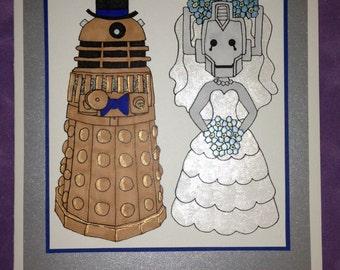 Dr Who Wedding Dalek Cyberman Card