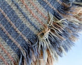 Wool Throw with Fringe Irish Tapestries Pale Blue Peach and Ivory
