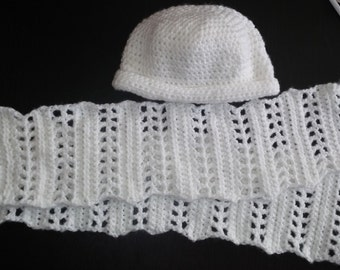 Winter White Hat and Scarf Womens Small Hat With 55 Inch Scarf