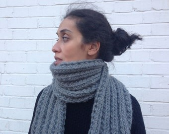 Chunky Grey scarf / knitted /The Estella