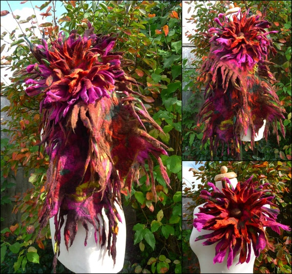 MADE TO ORDER felted scarf with flower  brooch, handmade, felt, wrap,brown, pink, maroon,autumn, spiky, lagenlook