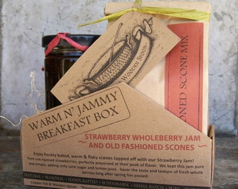 Warm & Jammy Gift Box -- Strawberry Whole Berry Jam and Old Fashioned Scone Mix