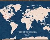 Cotton Canvas Anniversary Gift, World Map, Gift for Wife, Hearts on Places, Destination wedding,, Farewell gift, World Map