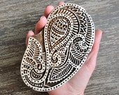 Large Paisley Stamp: Hand Carved Wood Stamp, Handmade Stamp, Indian Textile Printing Block, Wooden Block Stamp, Ceramic Pottery Stamp India